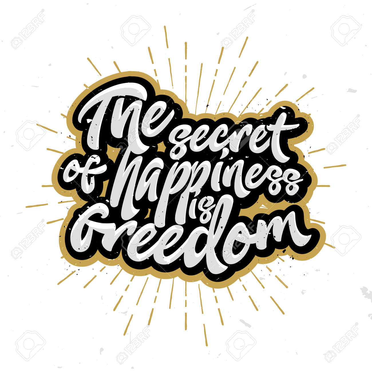 the secret of happiness is freedom lettering calligraphic letters stamp for t