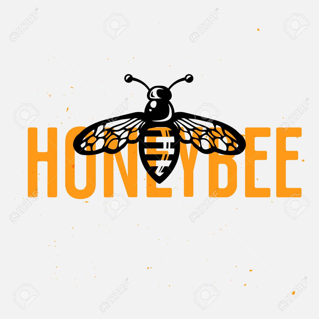 Honey Bee Logo Concept Vintage Vector Illustration Hand Drawn