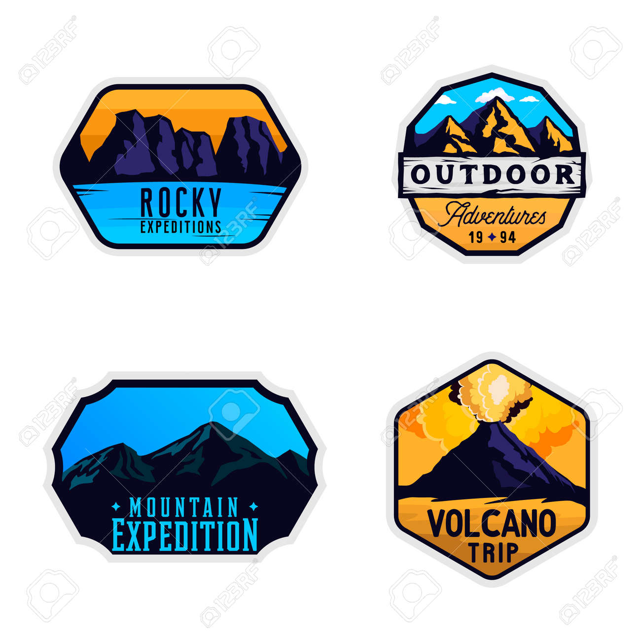 Mountain logotypes, stickers, badges  Outdoor themed labels in