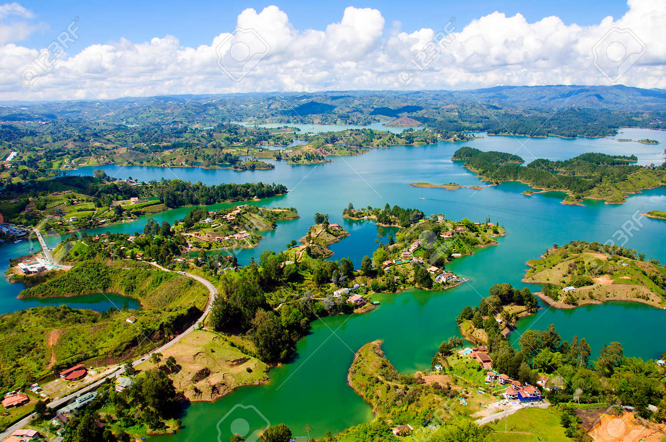 Guatape panoramic view from the rock of guatape in medellin, colombia stock