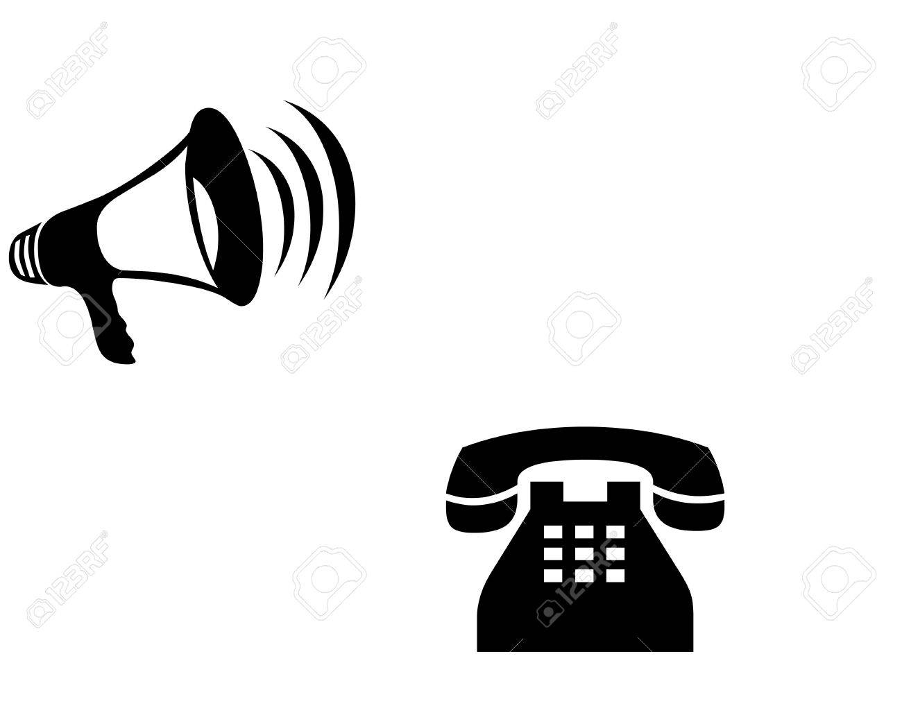 Speaker and telephone icons Stock Photo - 11731340