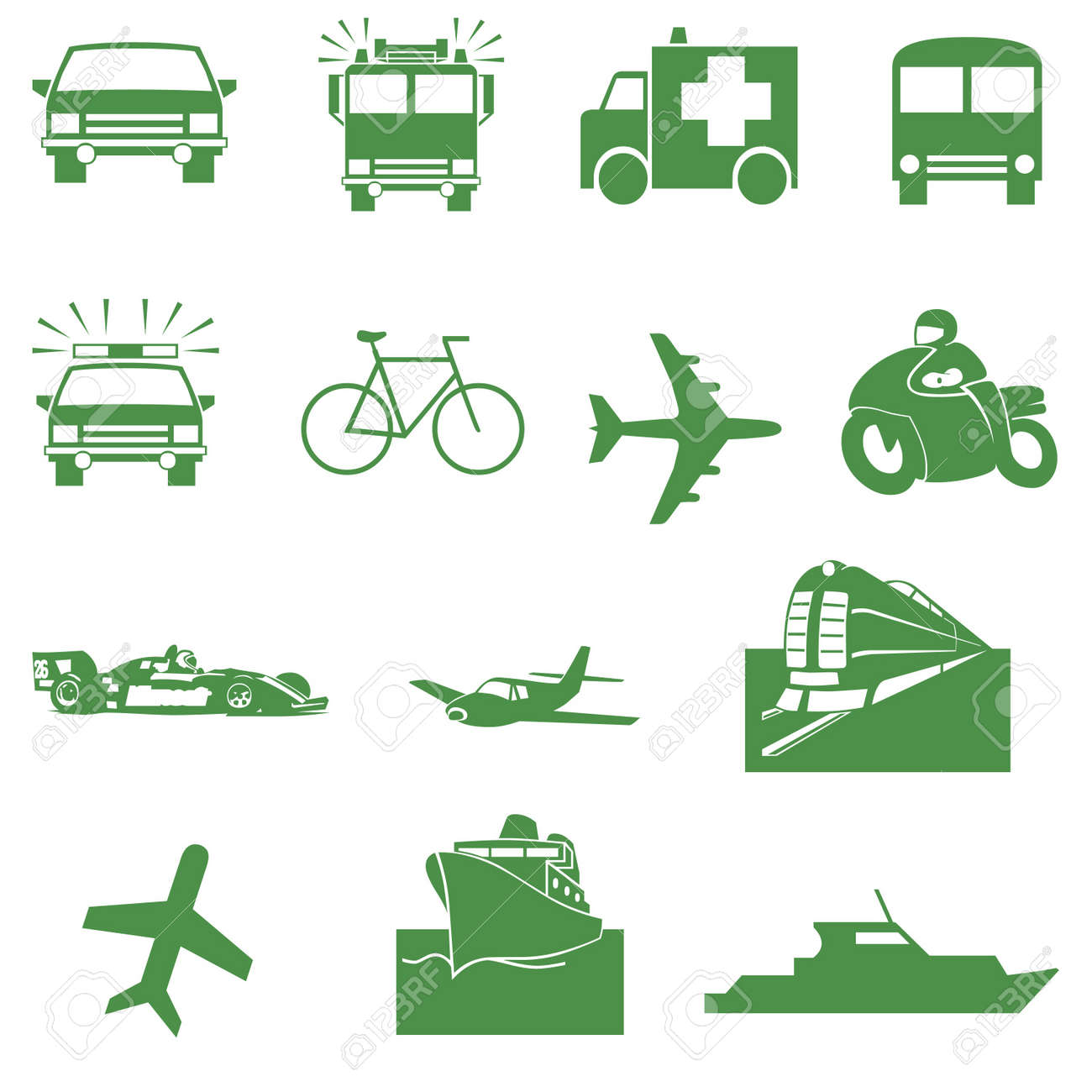 Green transportation icons Stock Photo - 12040405
