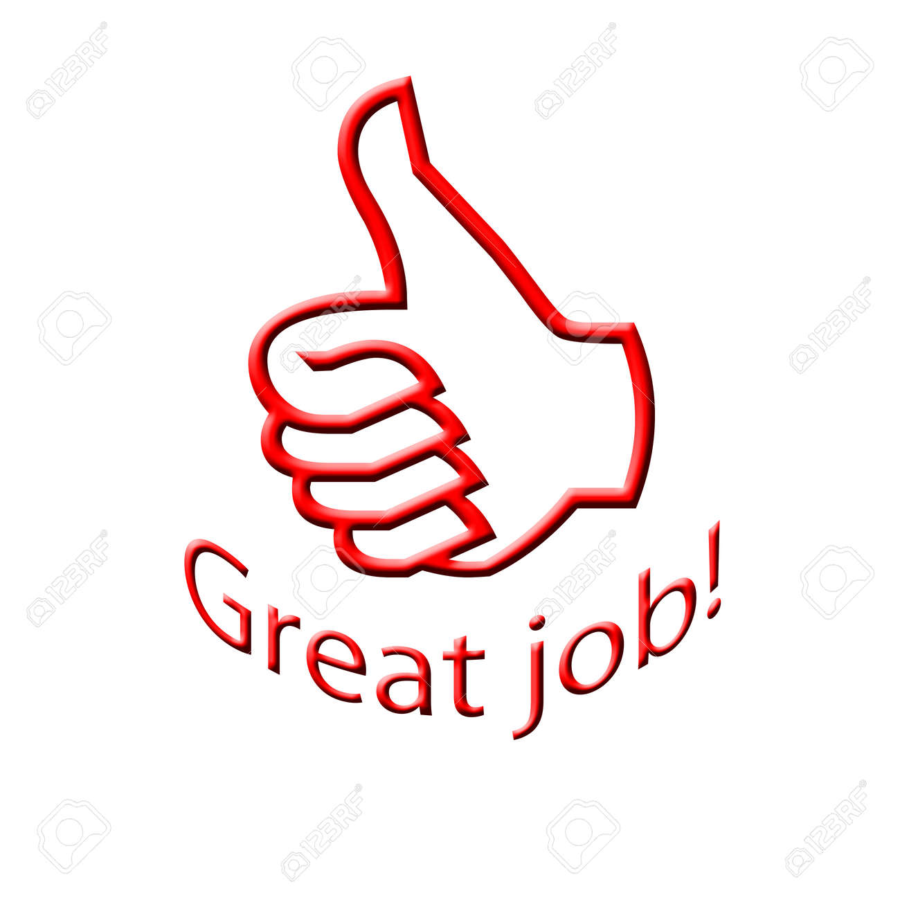 arc great job text with thumb up illustration stock photo picture