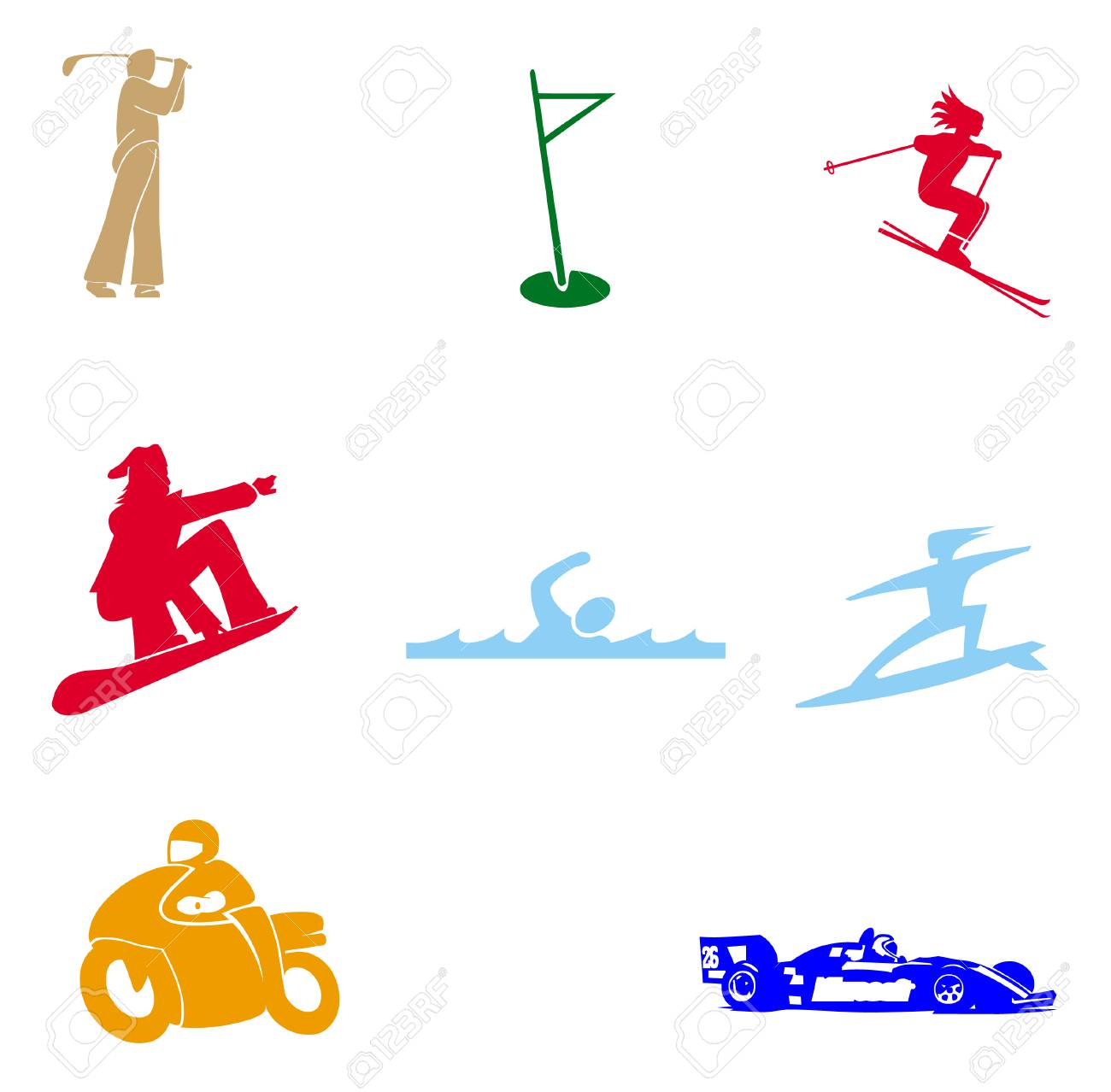 Sports Symbols On White Background Stock Photo Picture And Royalty