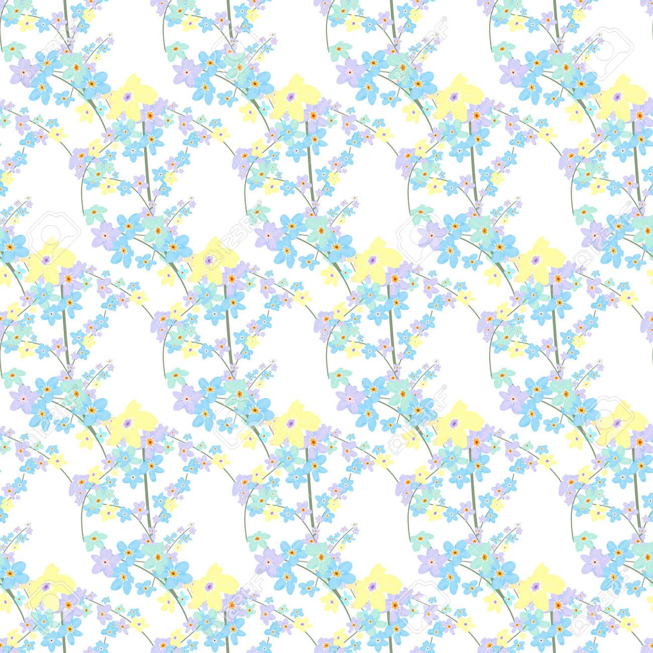 ベクター花柄シームレス パターン小さなかわいい色の花のイラスト光