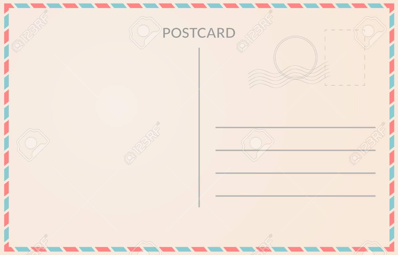 Realistic old postcard illustration red and blue borderline - 88597934