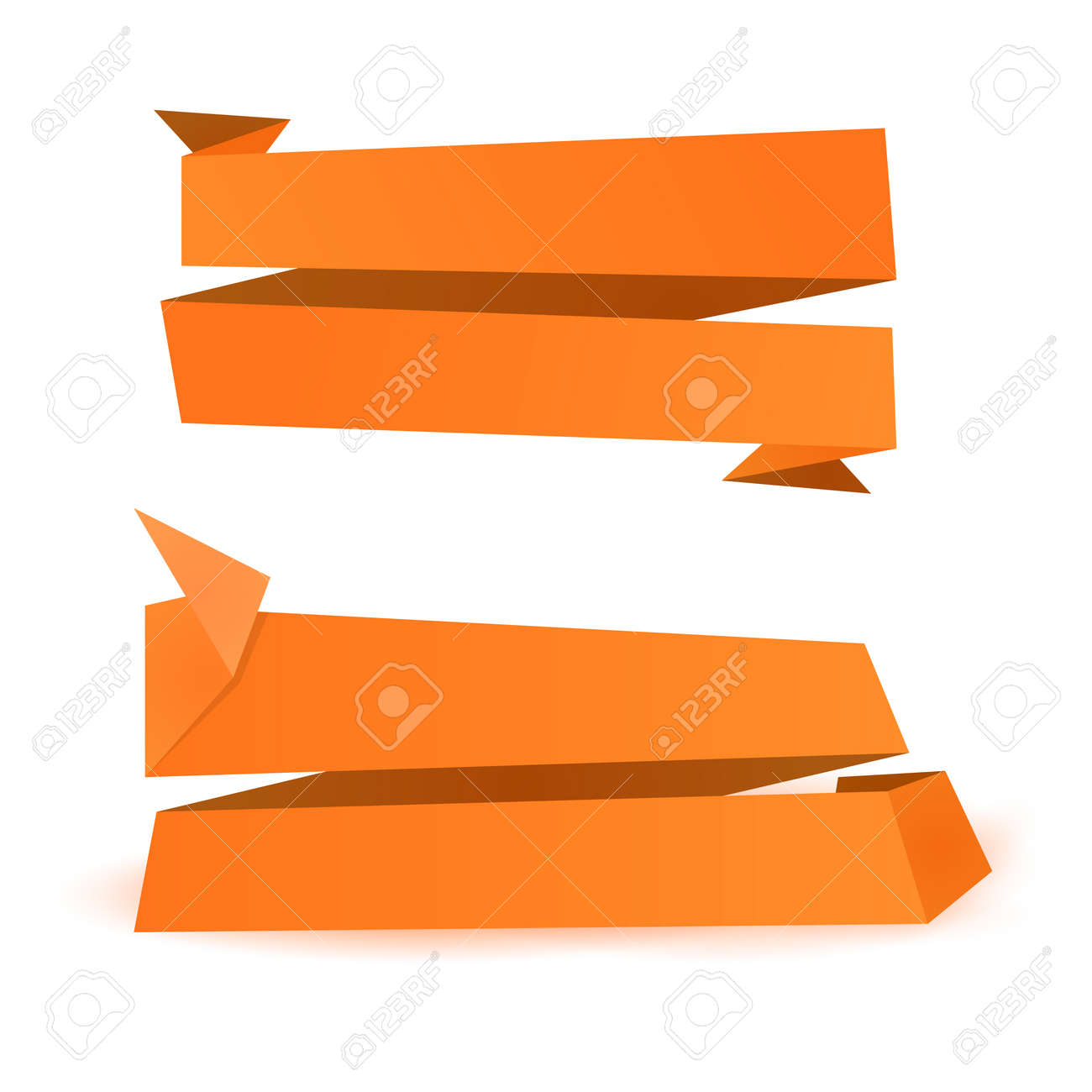 Orange Origami Shapes Background Paper Banner Template Stock Vector
