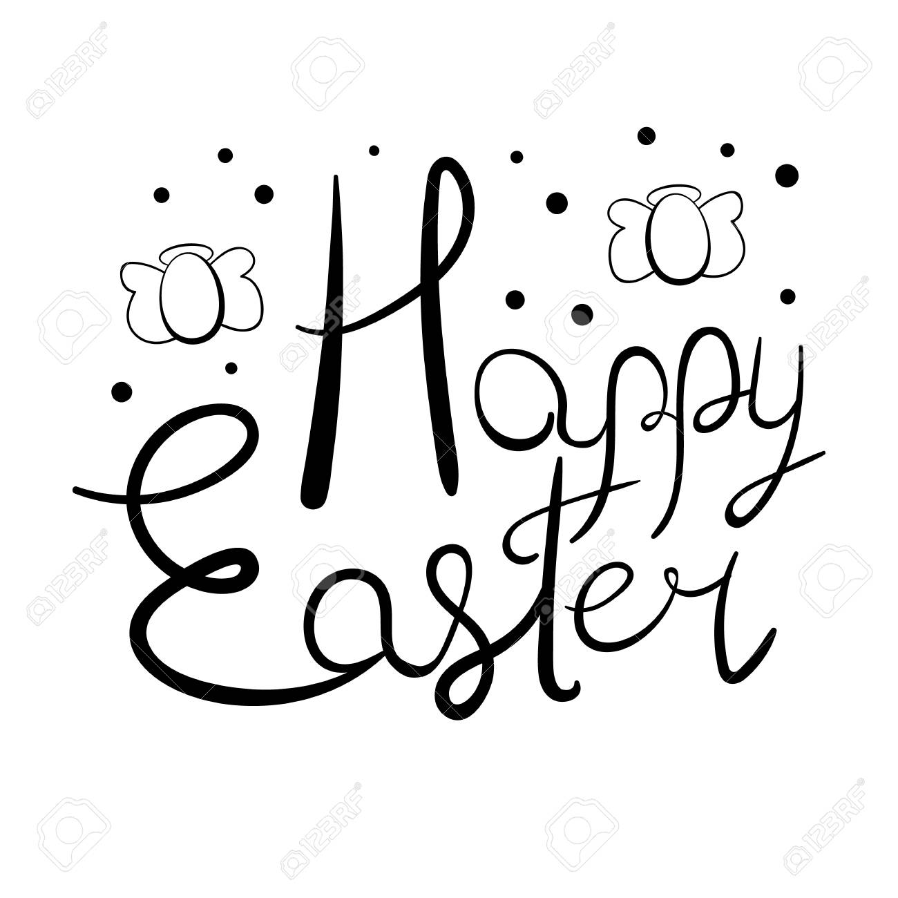 Festive Easter lettering with egg-shaped angels and polka dot elements Stock Vector - 97297173