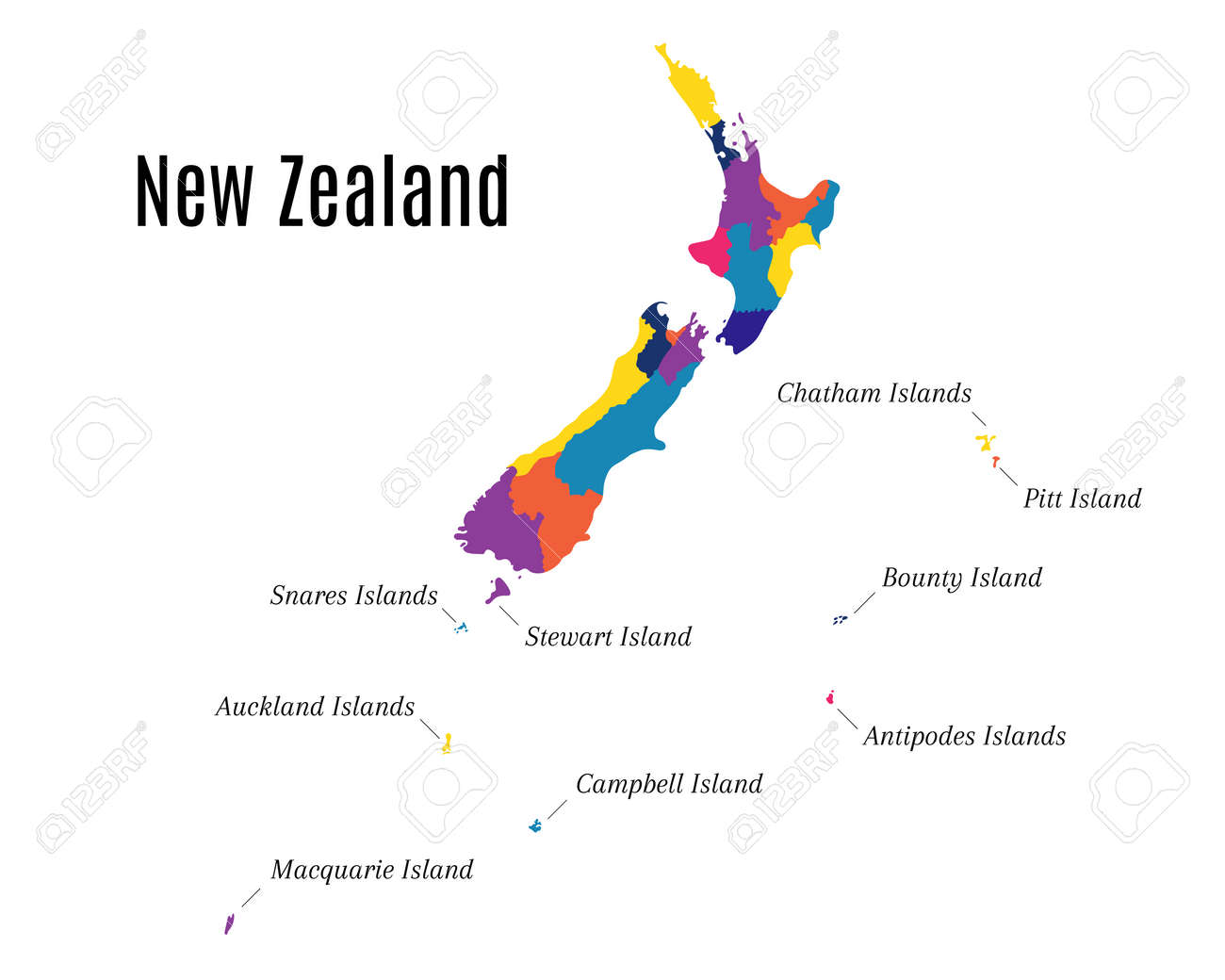 New Zealand Maori Map.Geographical Map On The New Zealand And Its Islands State Also