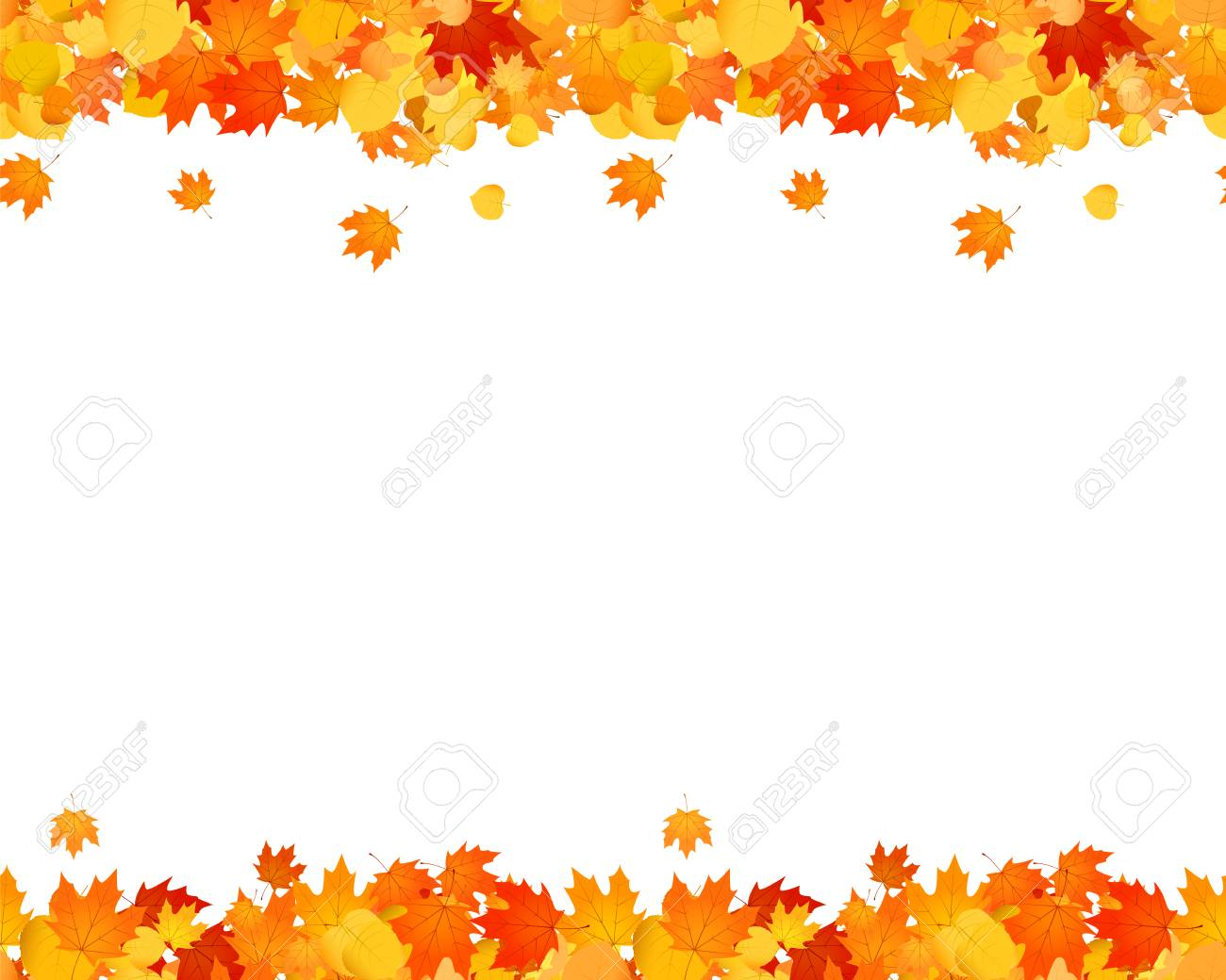 Set of autumn seamless footer and header for websites, ad, decoration. Falling leaves illustration. - 104431829