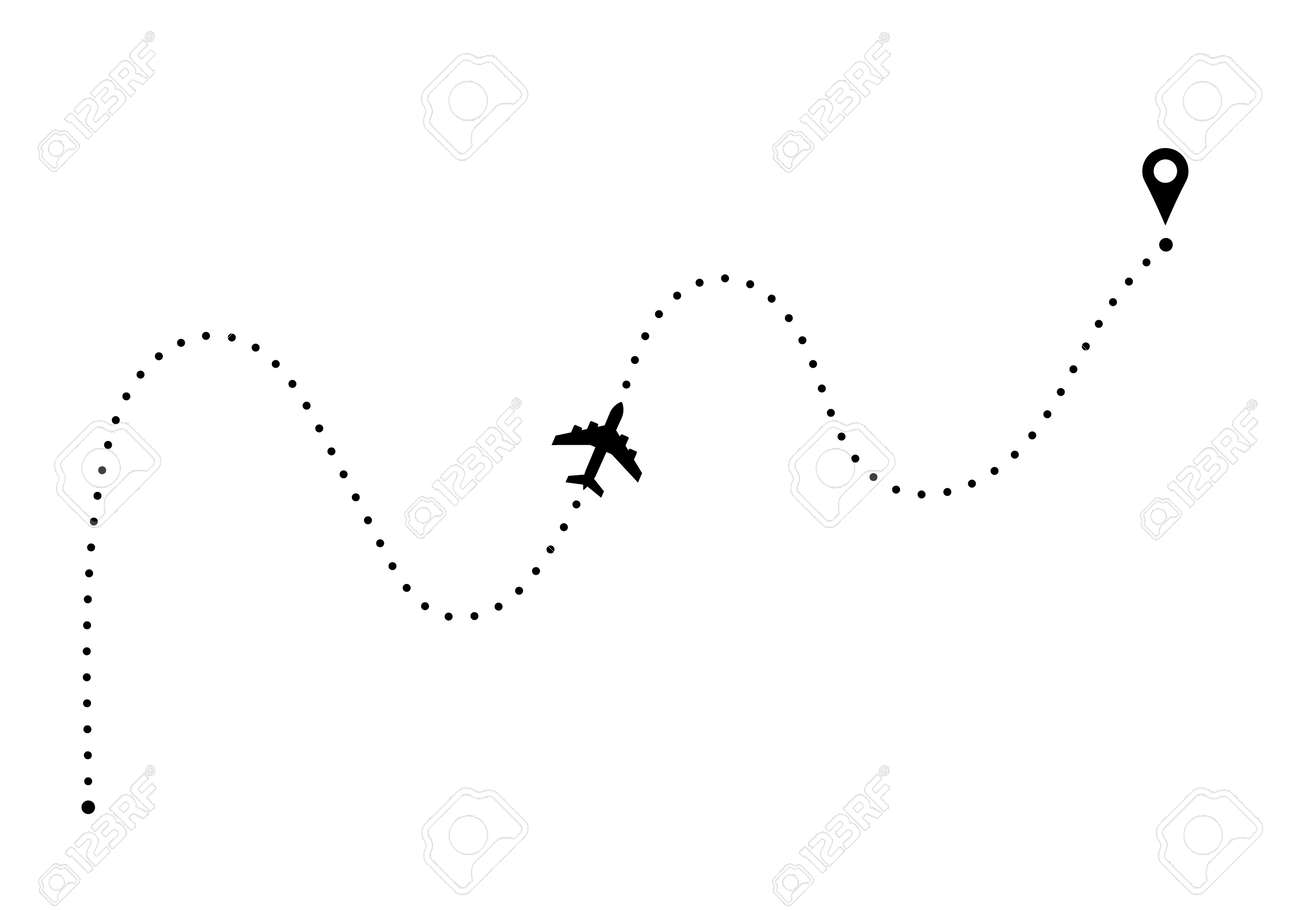 Plane route with point of departure and arrival - 110488458