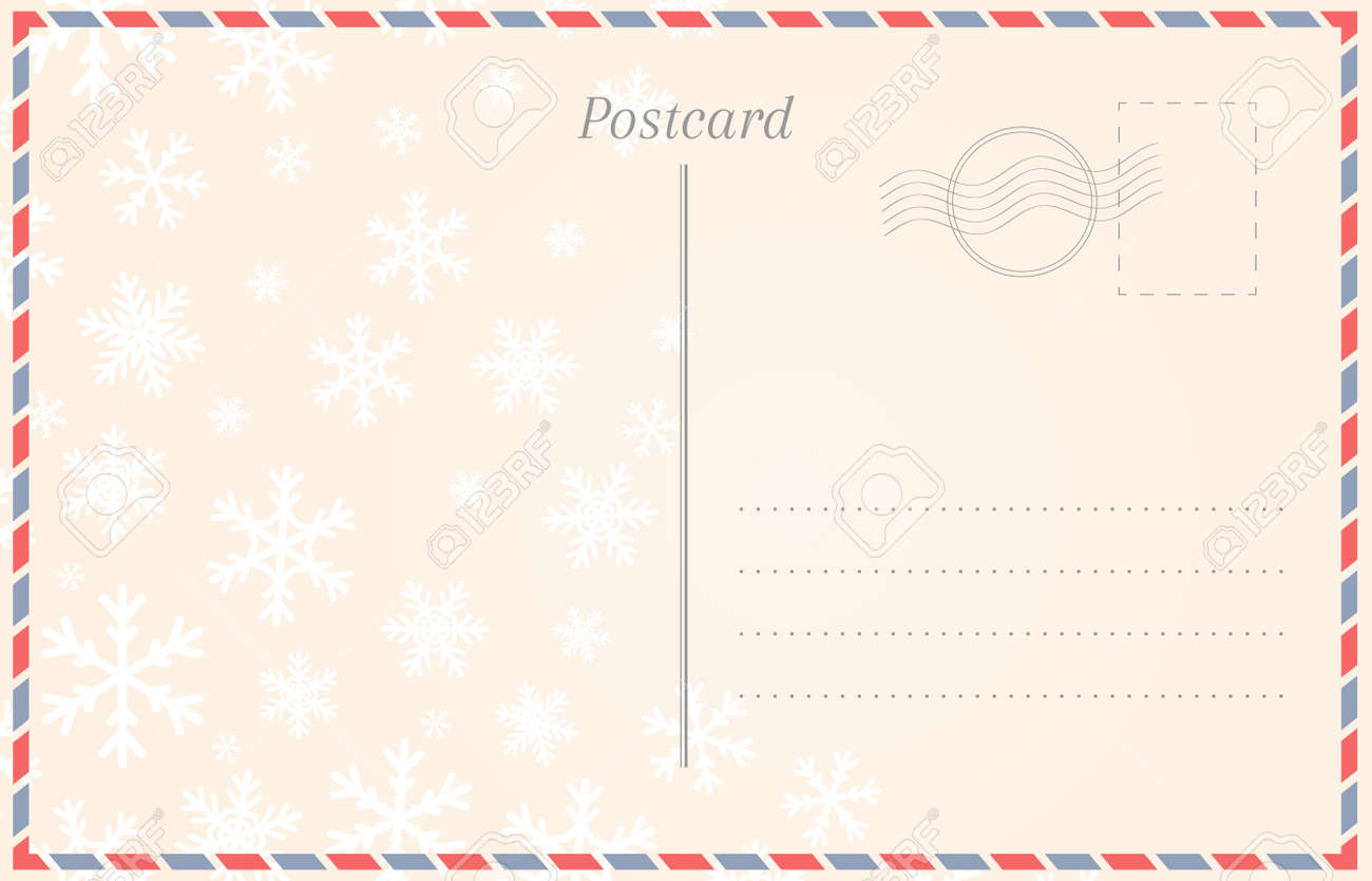 Postcard template with snowflakes for winter holidays and Christmas - 110250948