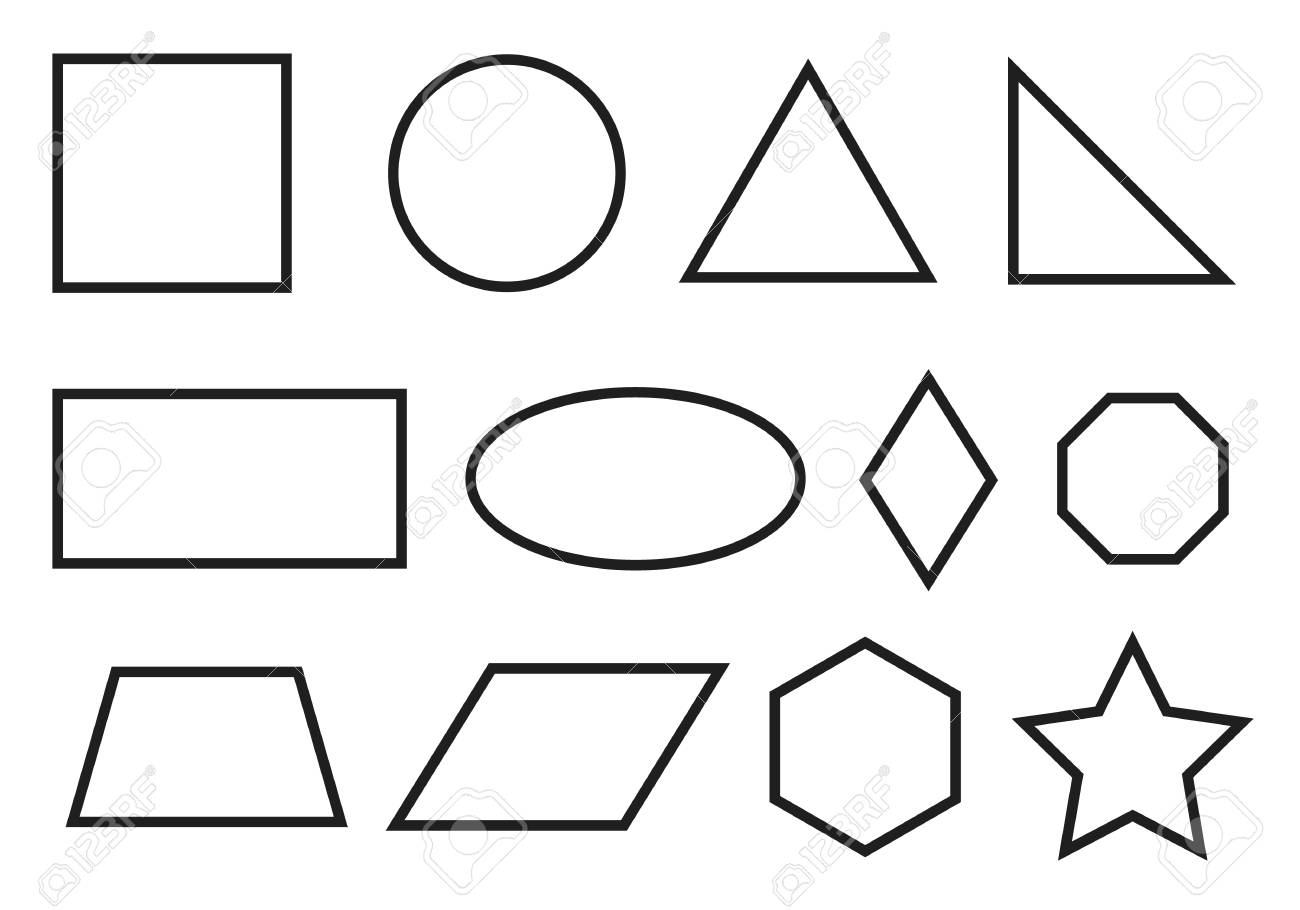 Simple geometry shapes set. Geometric primitives icons - 120702055