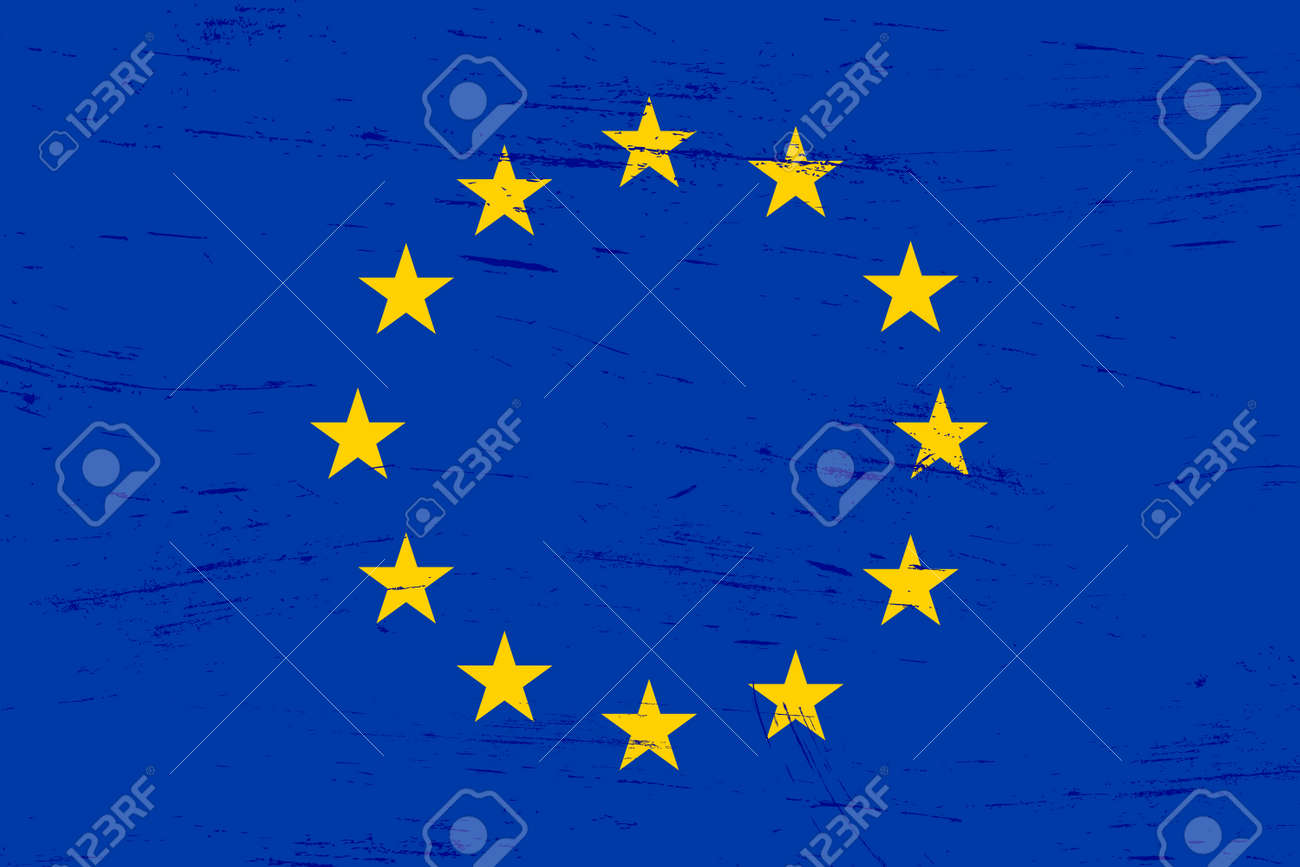 Old grunge textured European Union flag with dirt and scratches - 126117305