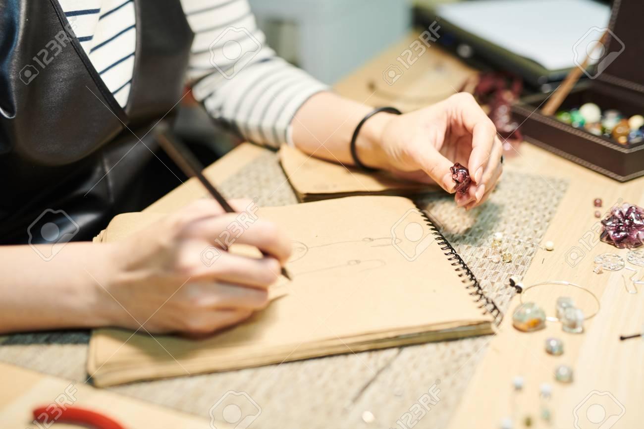 Artist Creating Jewelry Closeup - 114367122