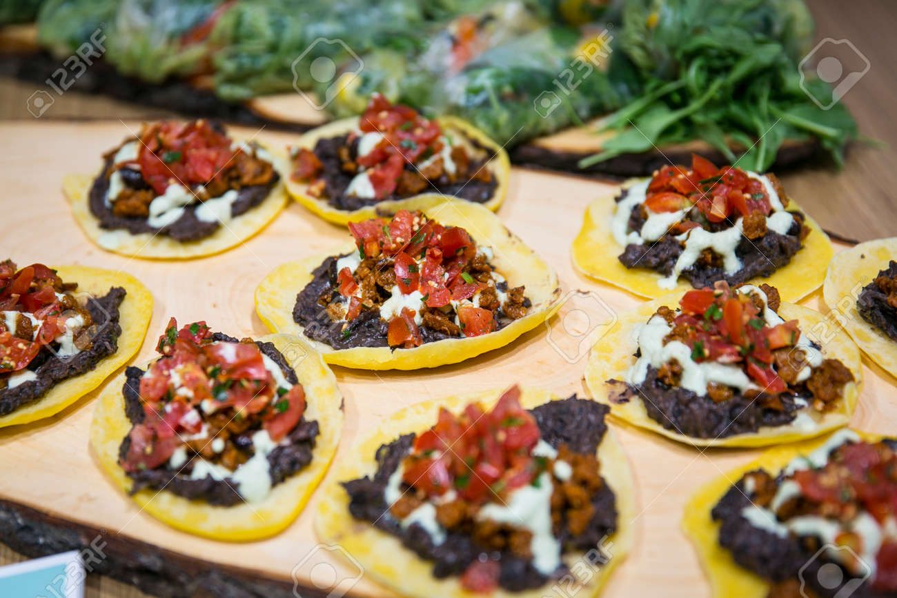 Catering / Mexican tacos with salsa