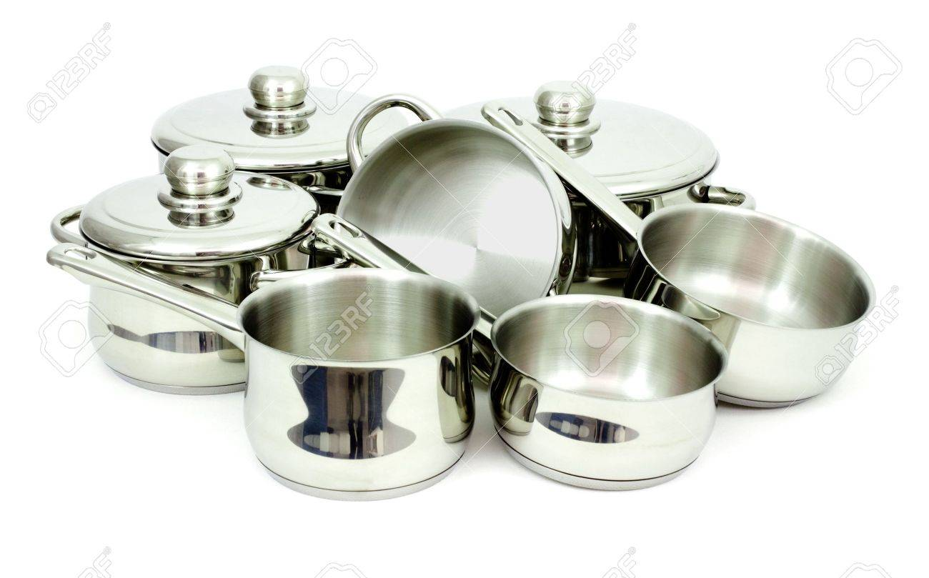 Pans made of stainless steel on a white background Stock Photo - 6833806