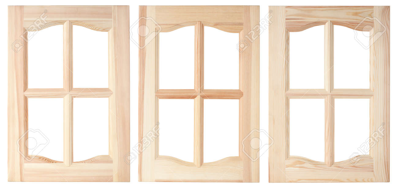 Stock photo three unpainted furniture doors are made of a tree