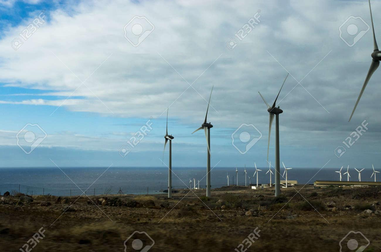 Wind generators on the sea coast, panorama - 148026351