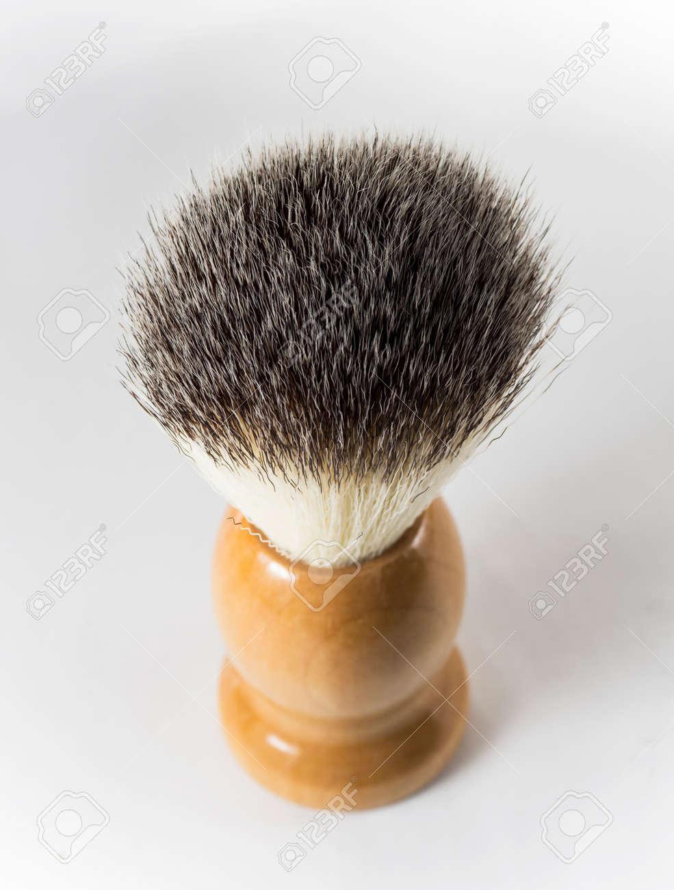 One shaving brush on white background - 158440244