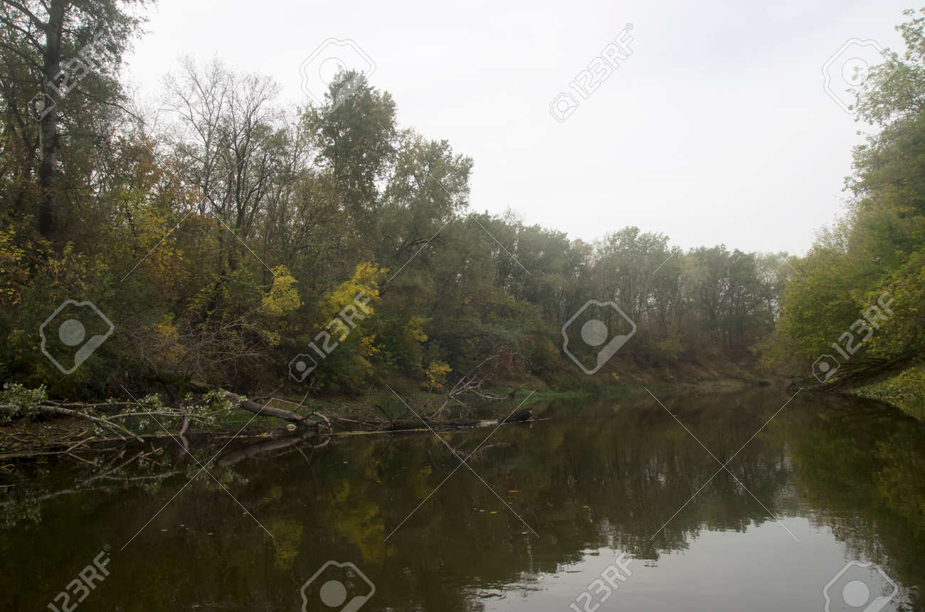 Landscape of an autumn river with trees on the bank - 159232225