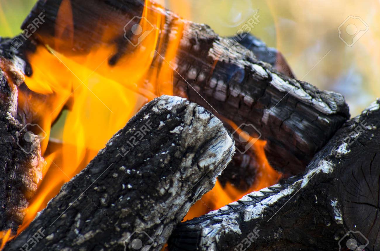 Dark logs of firewood burn in flames - 159935453