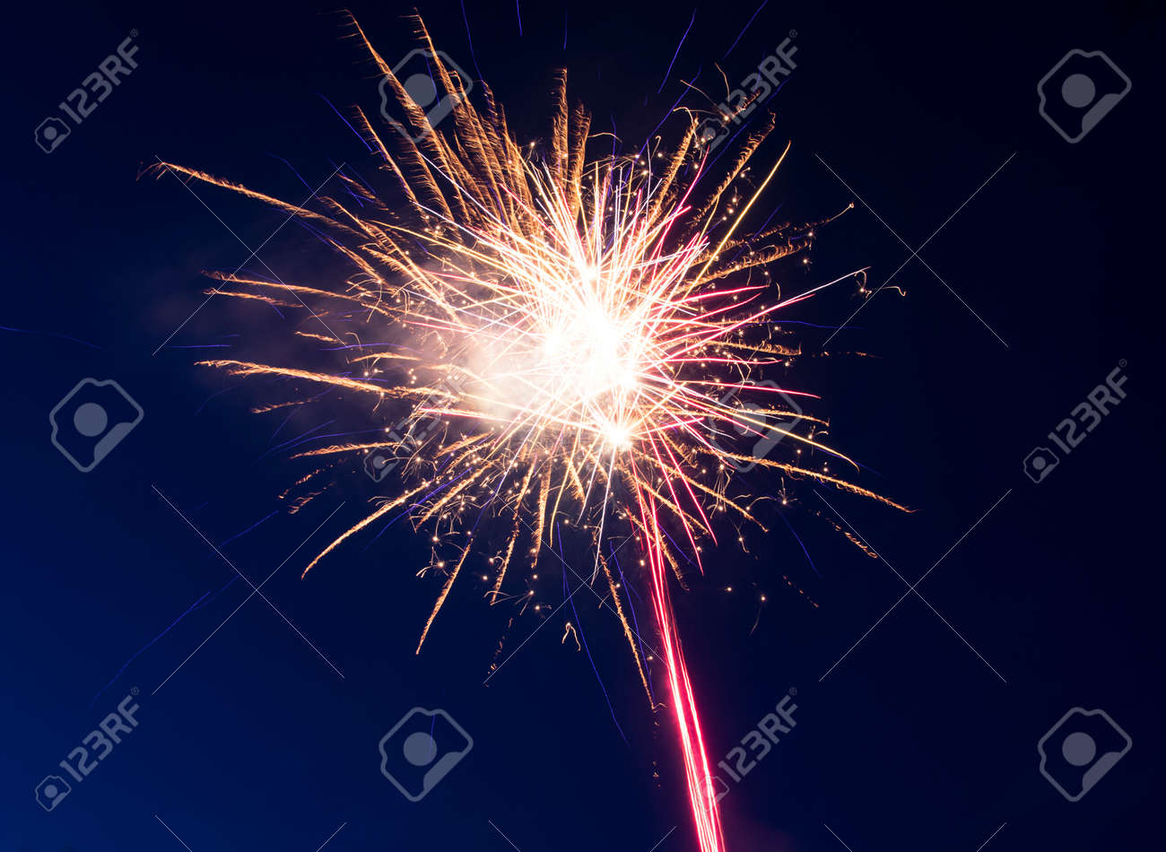 Fireworks on the background of the night sky - 163596404