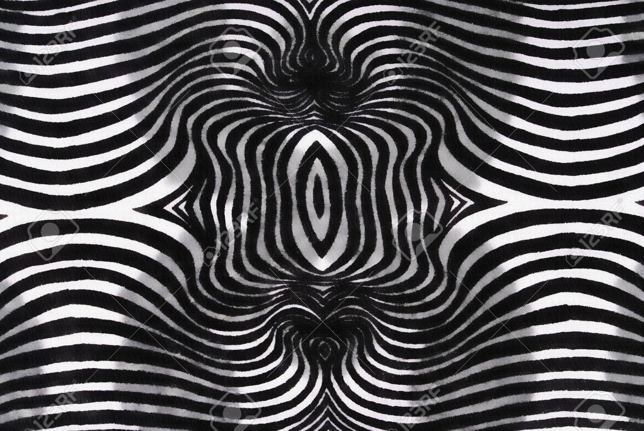black and white round striped fabric texture stock photo
