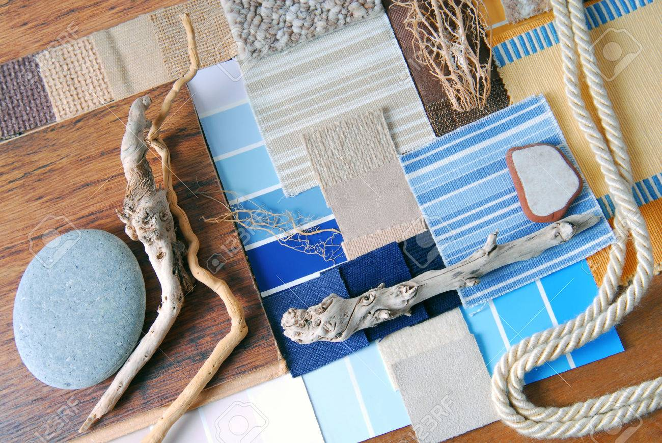 Interior Design Color And Upholstery Planning Concept Of Sea Marina Style Stock Photo