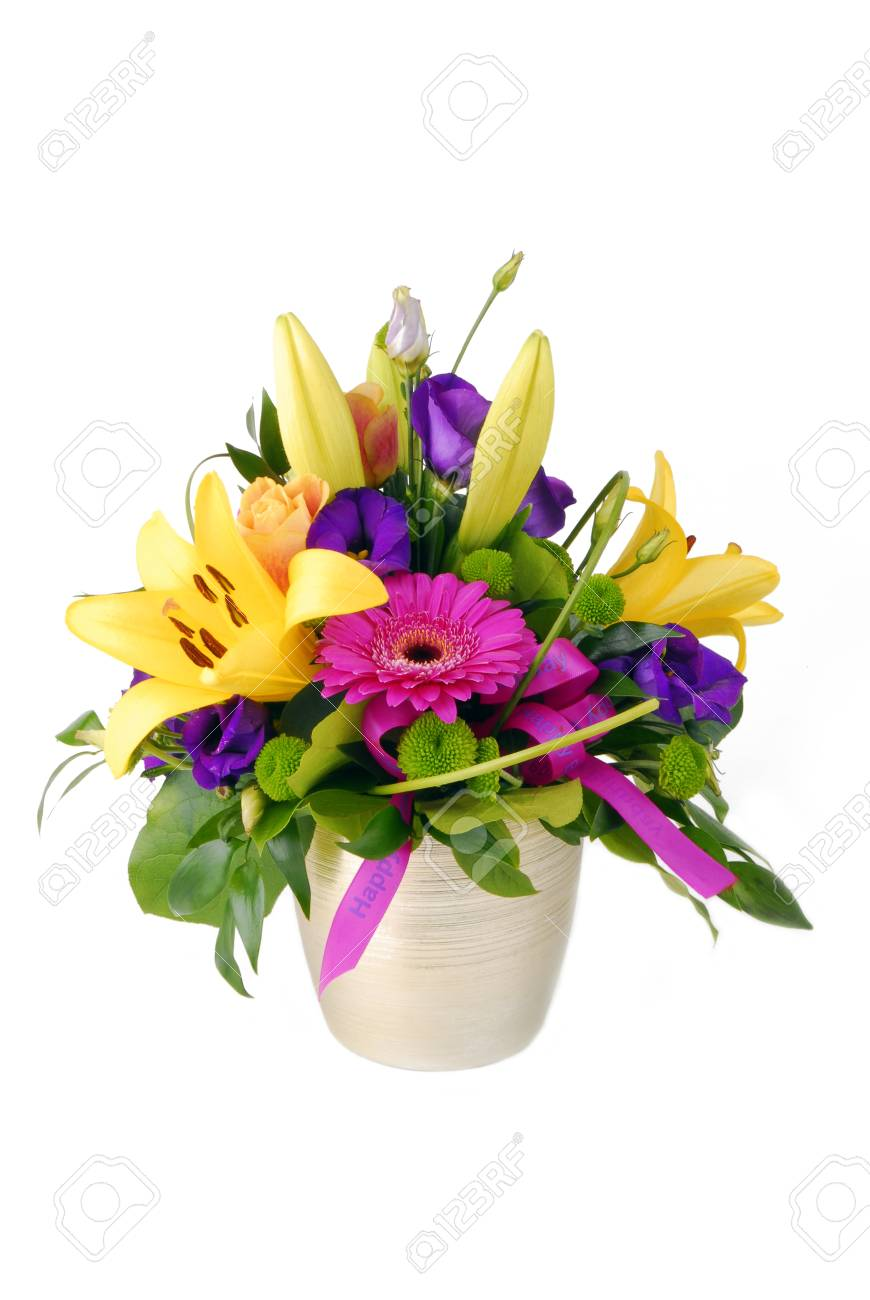 Bouquet of flowers happy birthday isolated on white stock photo bouquet of flowers happy birthday isolated on white stock photo 88764686 izmirmasajfo