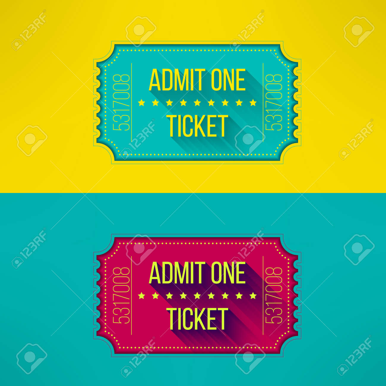 Entry Ticket In Modern Flat Design With Long Shadow Admit One – Concert Tickets Design