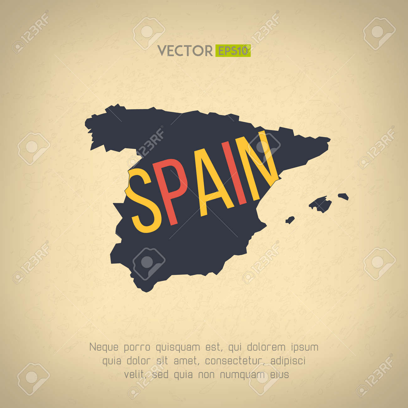 Vector spain map in vintage design spanish border on grunge vector spain map in vintage design spanish border on grunge background letters are not gumiabroncs Choice Image