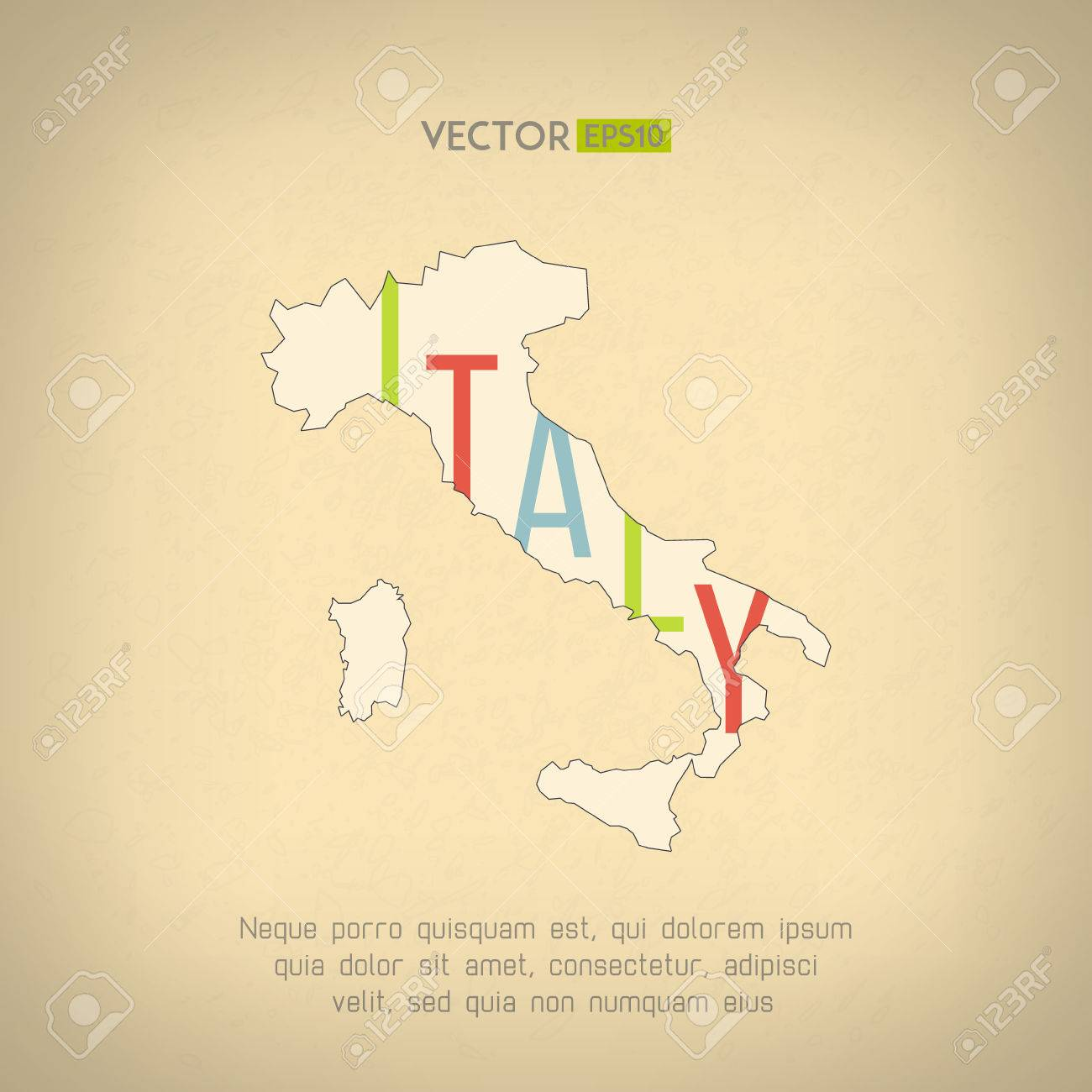 Vector italy map in vintage design  Italian border on grunge