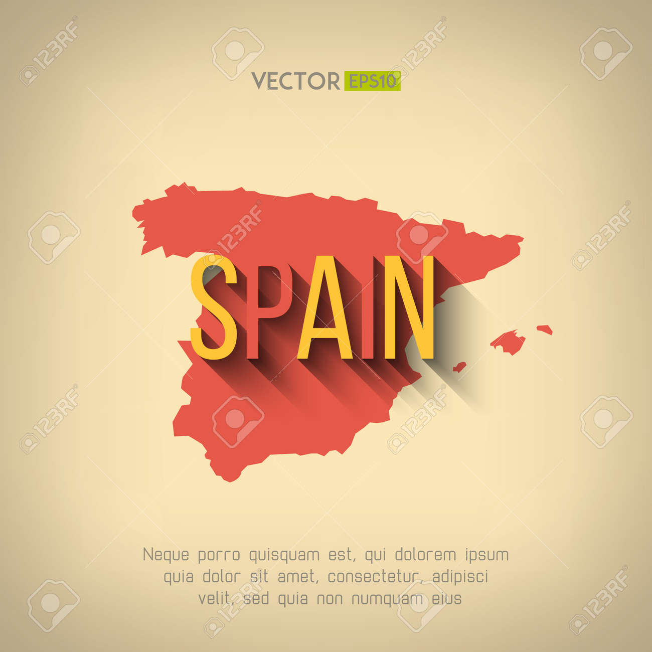 Country Of Spain Map.Vector Spain Map In Flat Design Spanish Border And Country Name