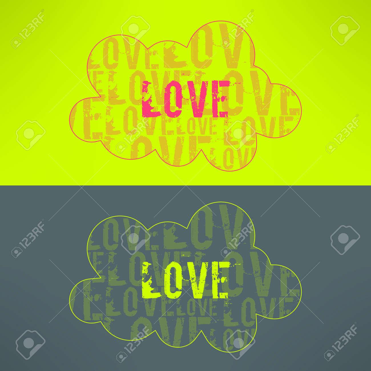Vector Love Background Inspiré Nuage Mignon Avec Le Texte Damour