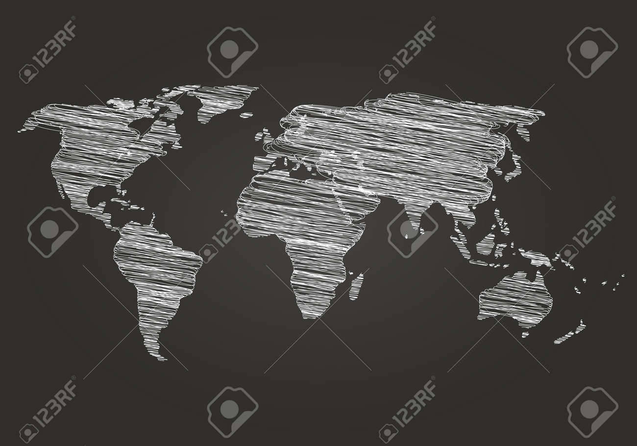 World map on a dark background hatching vector illustration vector world map on a dark background hatching vector illustration map drawn in chalk on a blackboard world map detail vector line sketch gumiabroncs Image collections