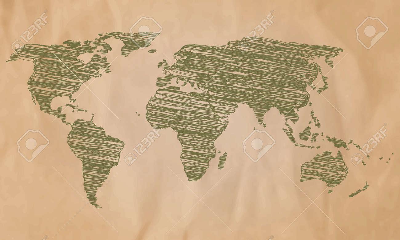 World map on old paper vector illustration world map detailed vector world map on old paper vector illustration world map detailed vector line sketch gumiabroncs Images