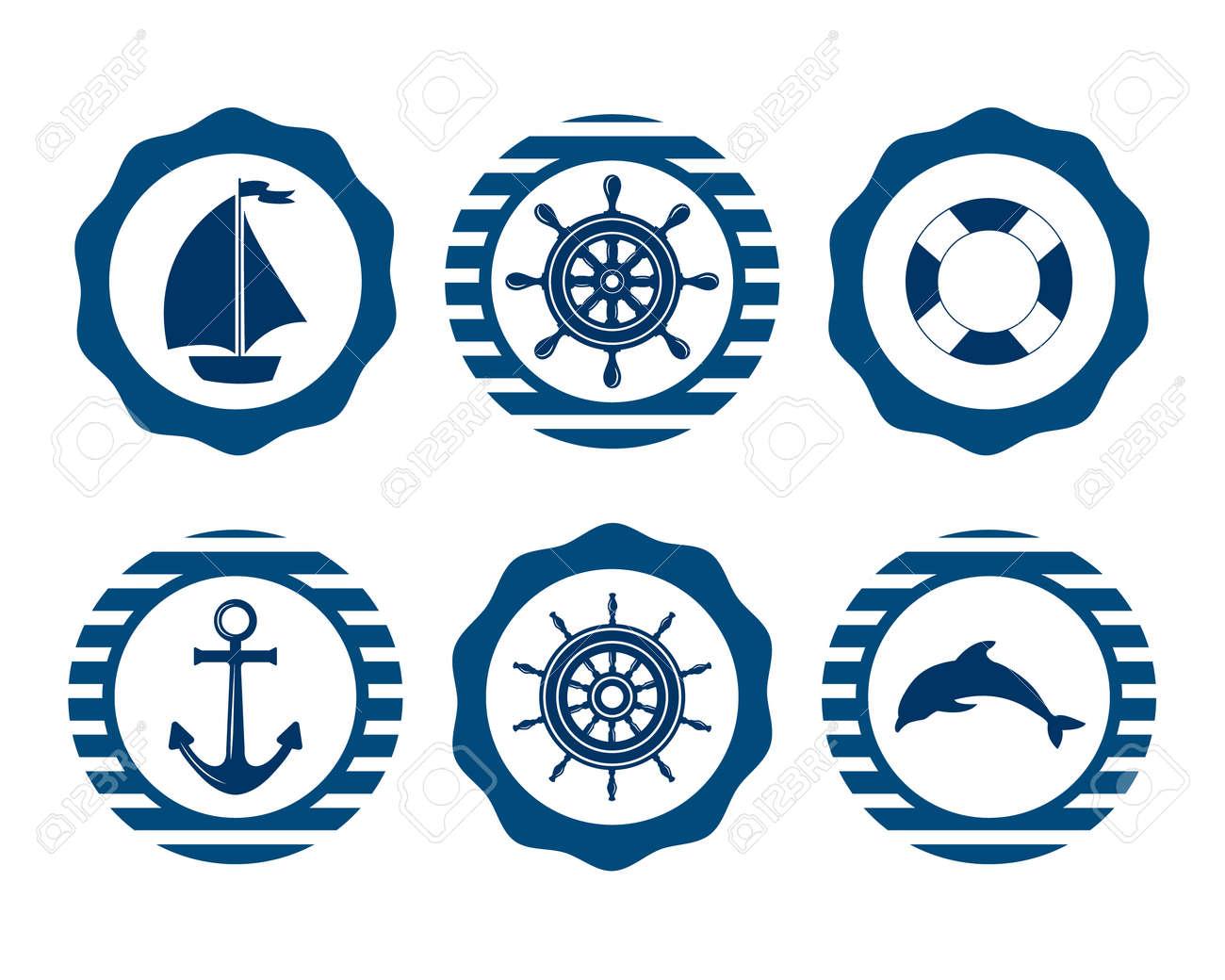 set of marine symbols vector of nautical and marine icons flat
