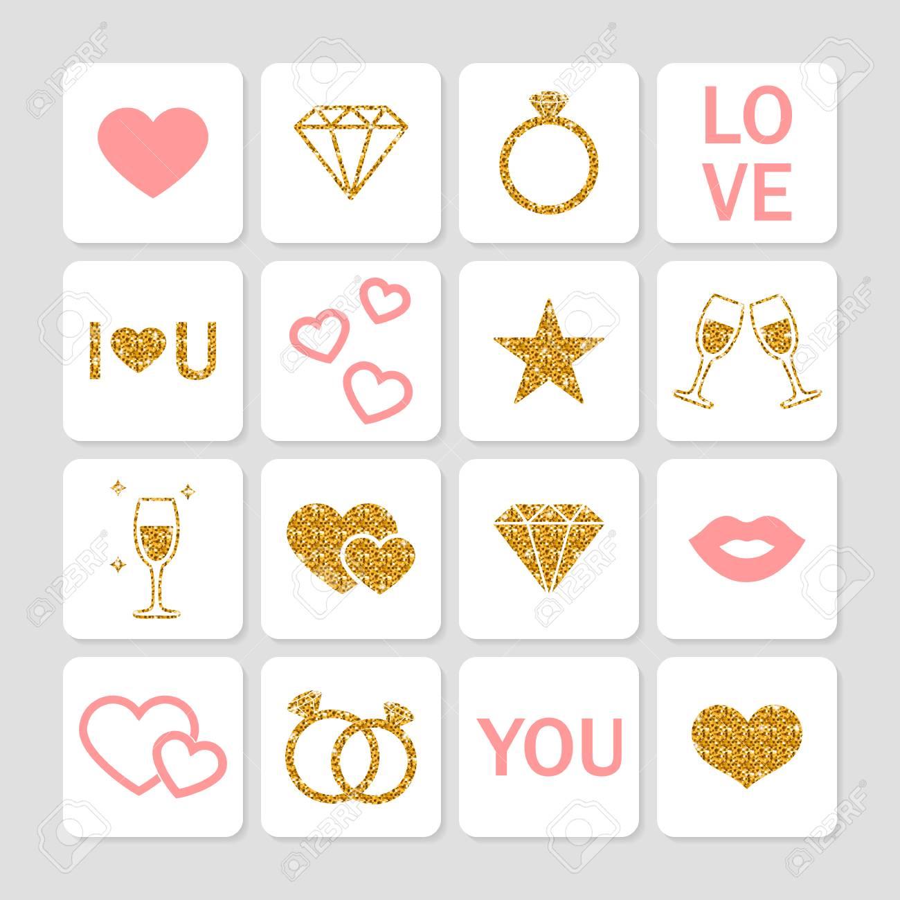 Decorazioni Lettere D Amore set di icone di amore. romantic lucide icone d'oro per san valentino, la  progettazione, la cartolina d'auguri, decorazioni. matrimonio e amore  icone.