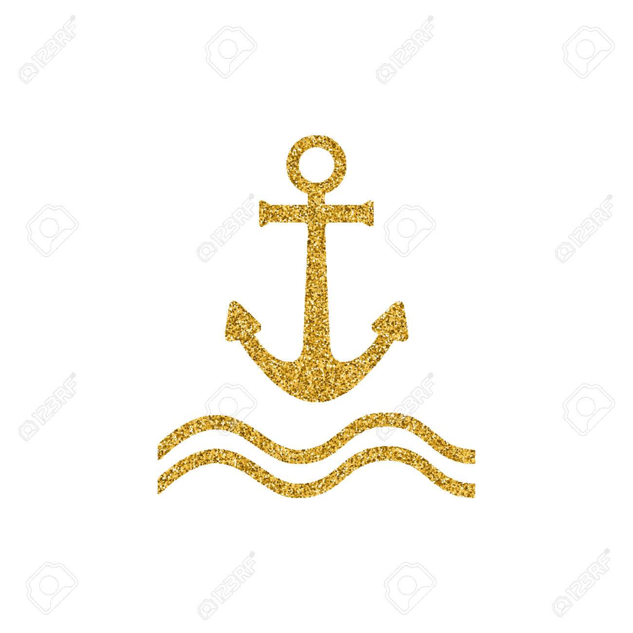 Gold Effekt Anchor Vector Icon Poster Design With Nautical Theme Isolated