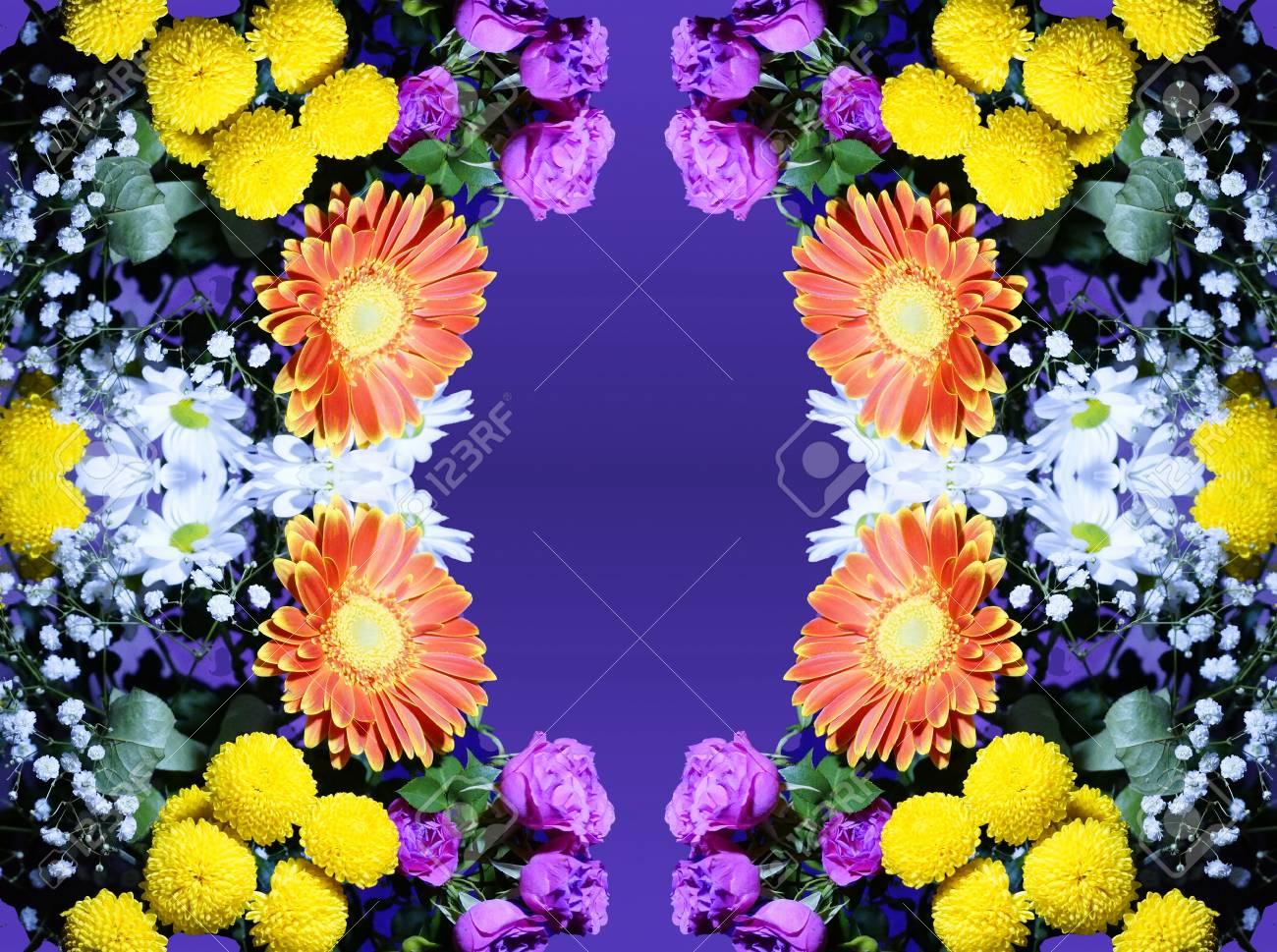 Flower Arrangement Of Orange White Pink Yellow Flowers Purple