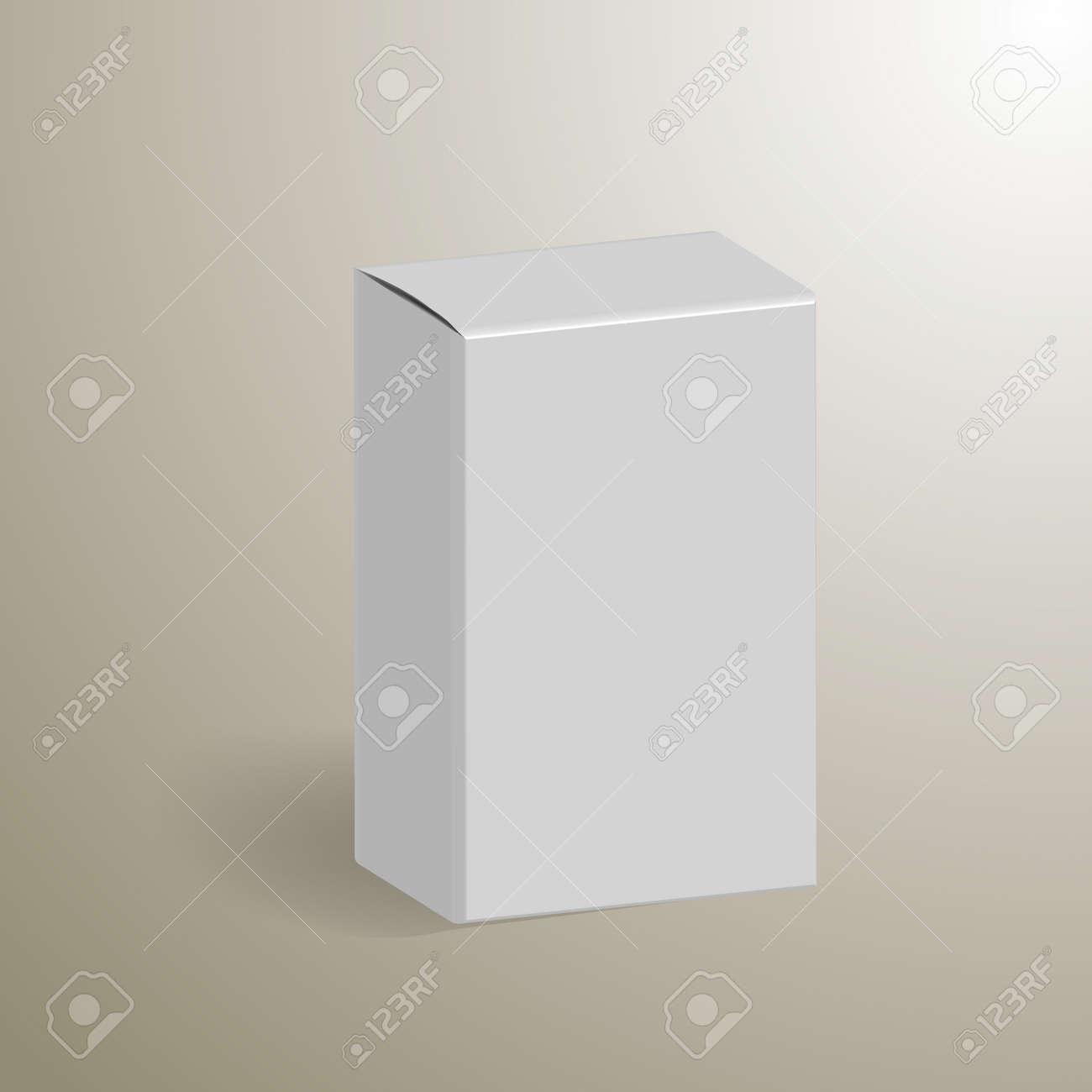 Blanco Producto Caja De Cartón Del Paquete. Mock Listo Plantilla ...
