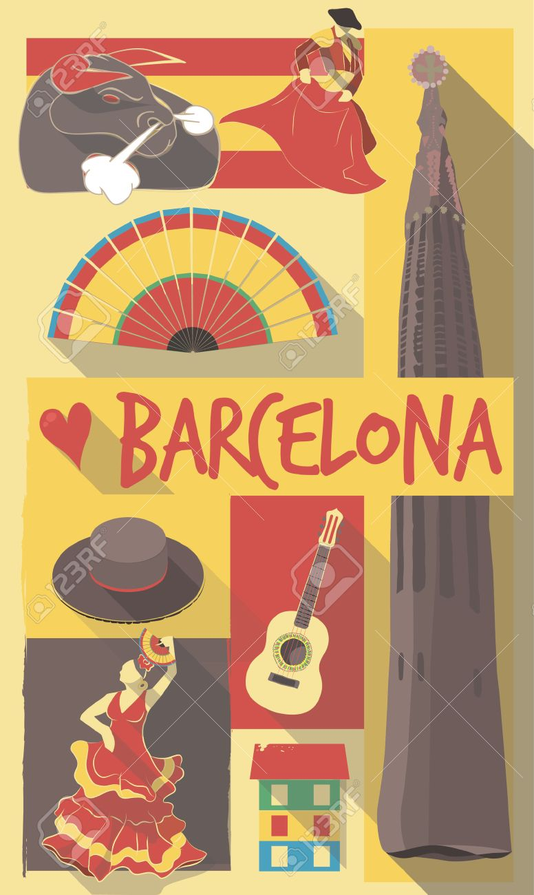 Retro Drawing Of Spanish Cultural Symbols On A Poster And Postcard