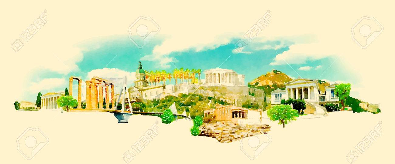 vector watercolor athens city illustration - 57898521