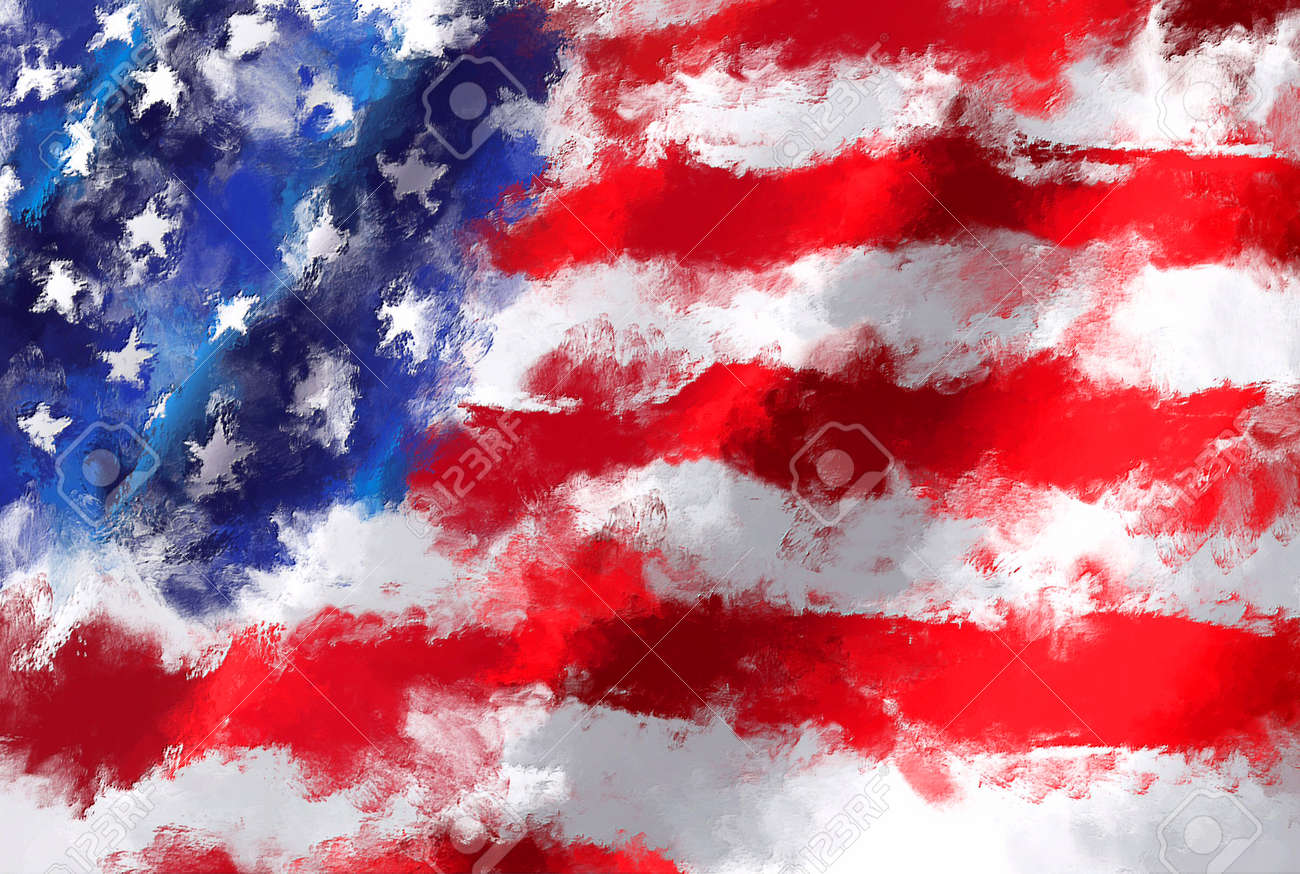 oil painting grunge effected illustration of USA flag - 57937189