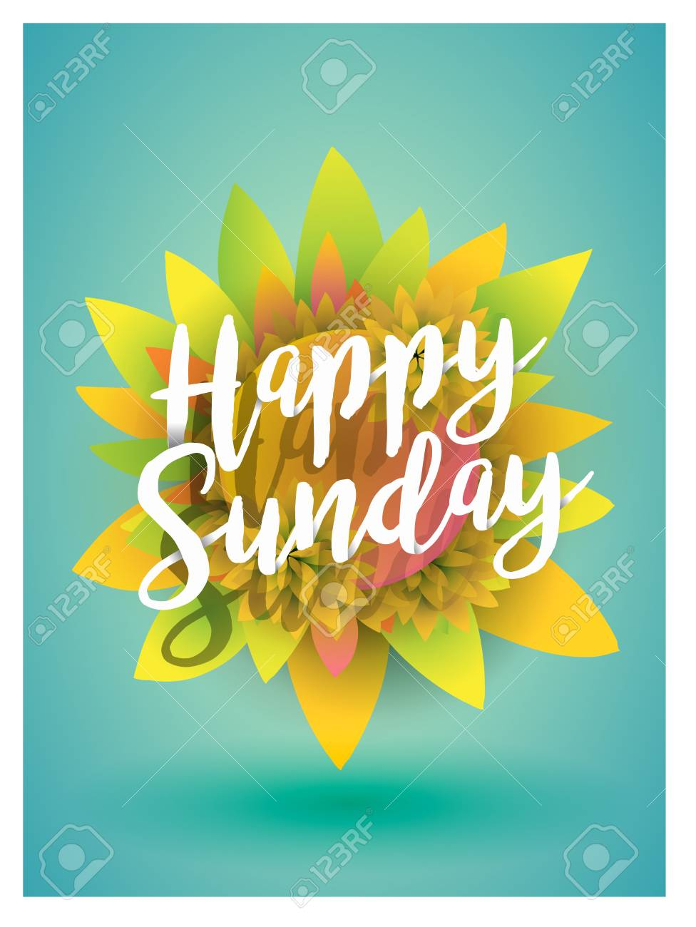 Script Typographic Happy Sunday Sign On Sunflower Royalty Free