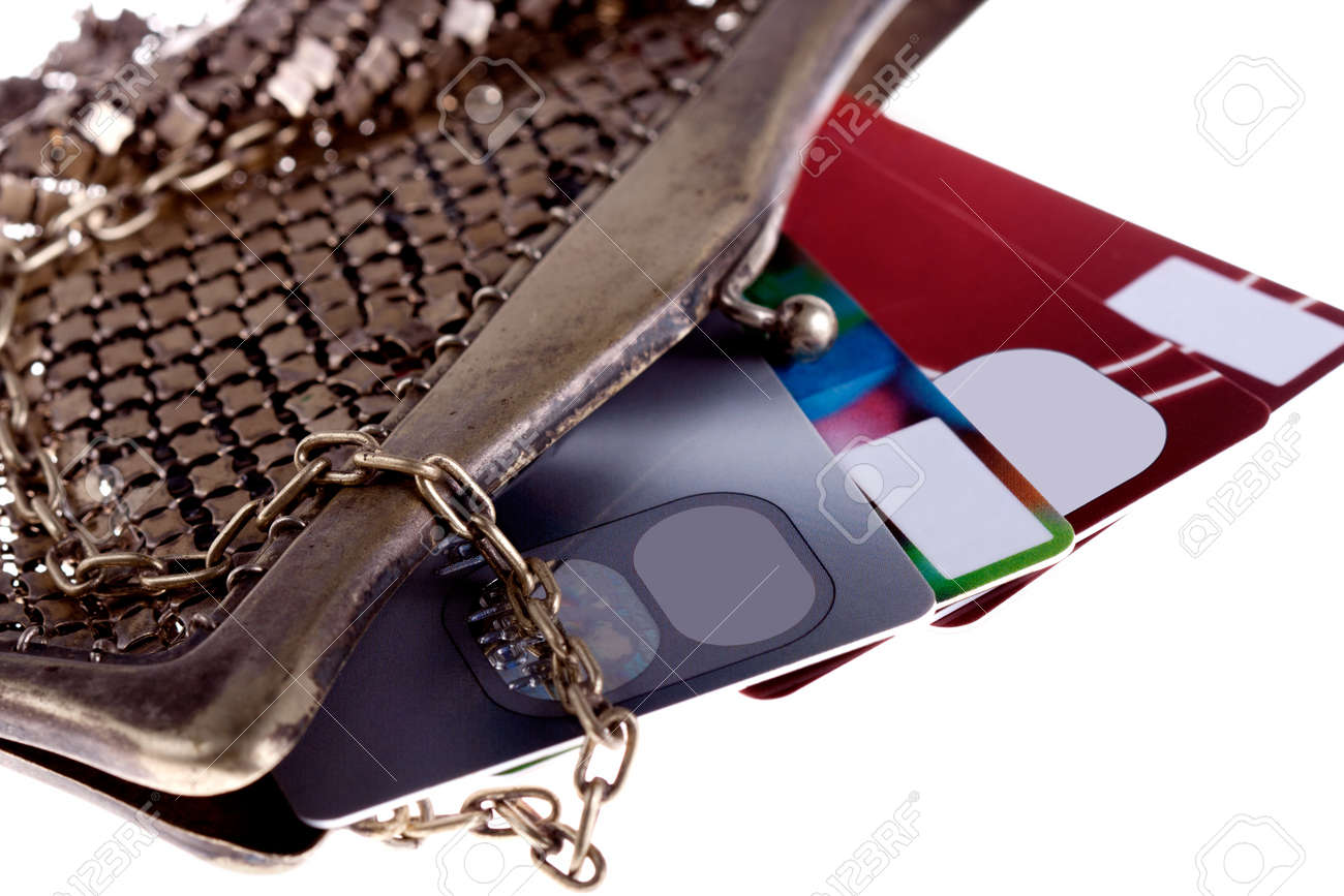 antiquarian purse with credit cards Visa and Mastercard Stock Photo - 11738685