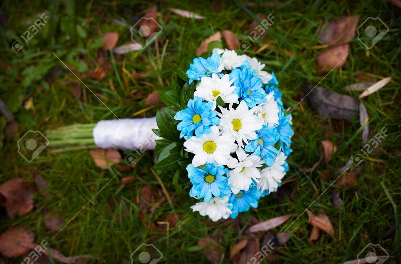 White and blue flowers wedding bouquet lying on green grass stock stock photo white and blue flowers wedding bouquet lying on green grass izmirmasajfo