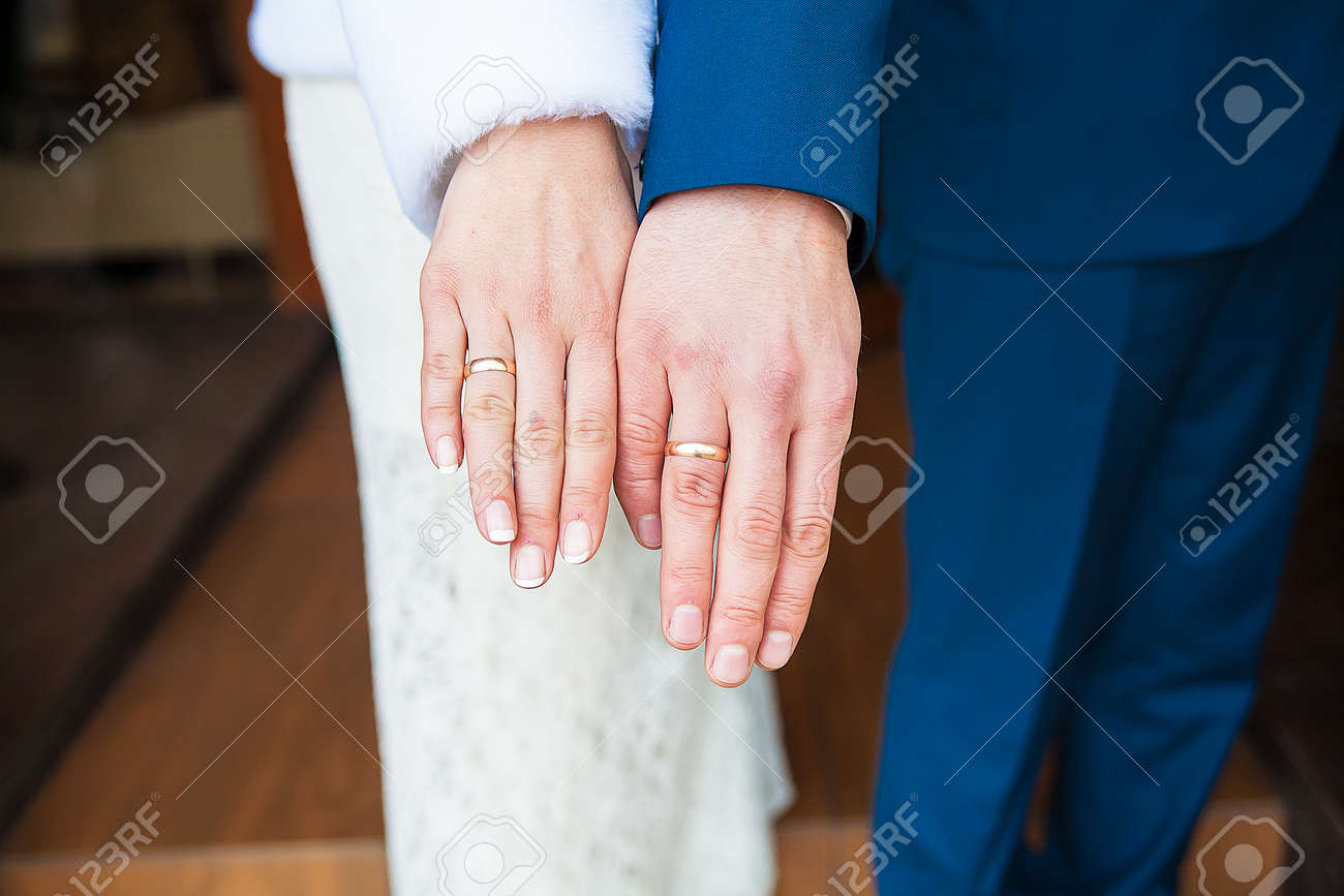 Beautiful Hands Of Bride And Groom Show Ring Stock Photo, Picture ...