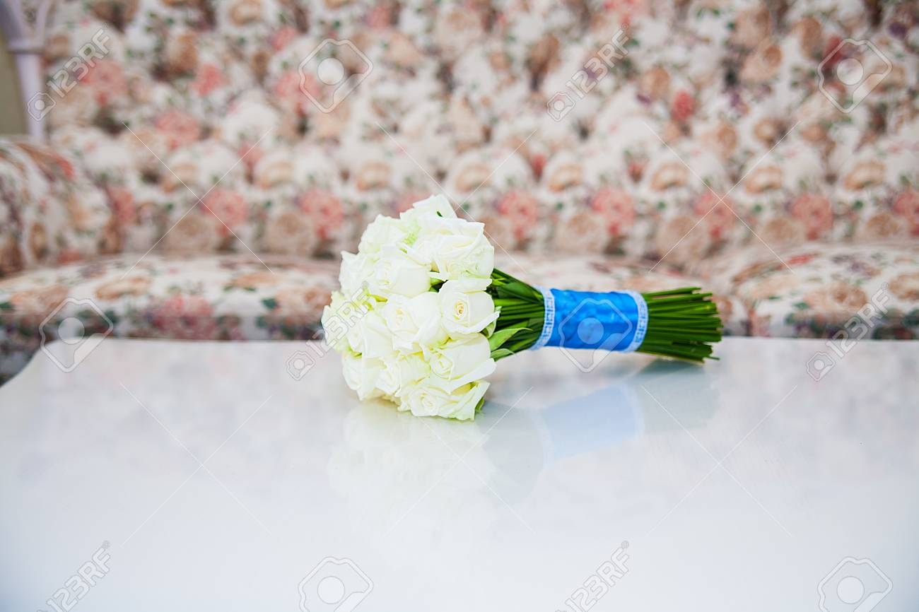 Wedding Flowers White Roses Bouquet. Marriage Flowers Bouquet. Stock ...